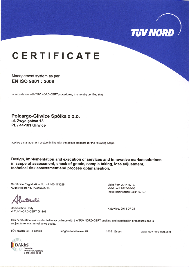 TÜV NORD ISO 9001 Certificate